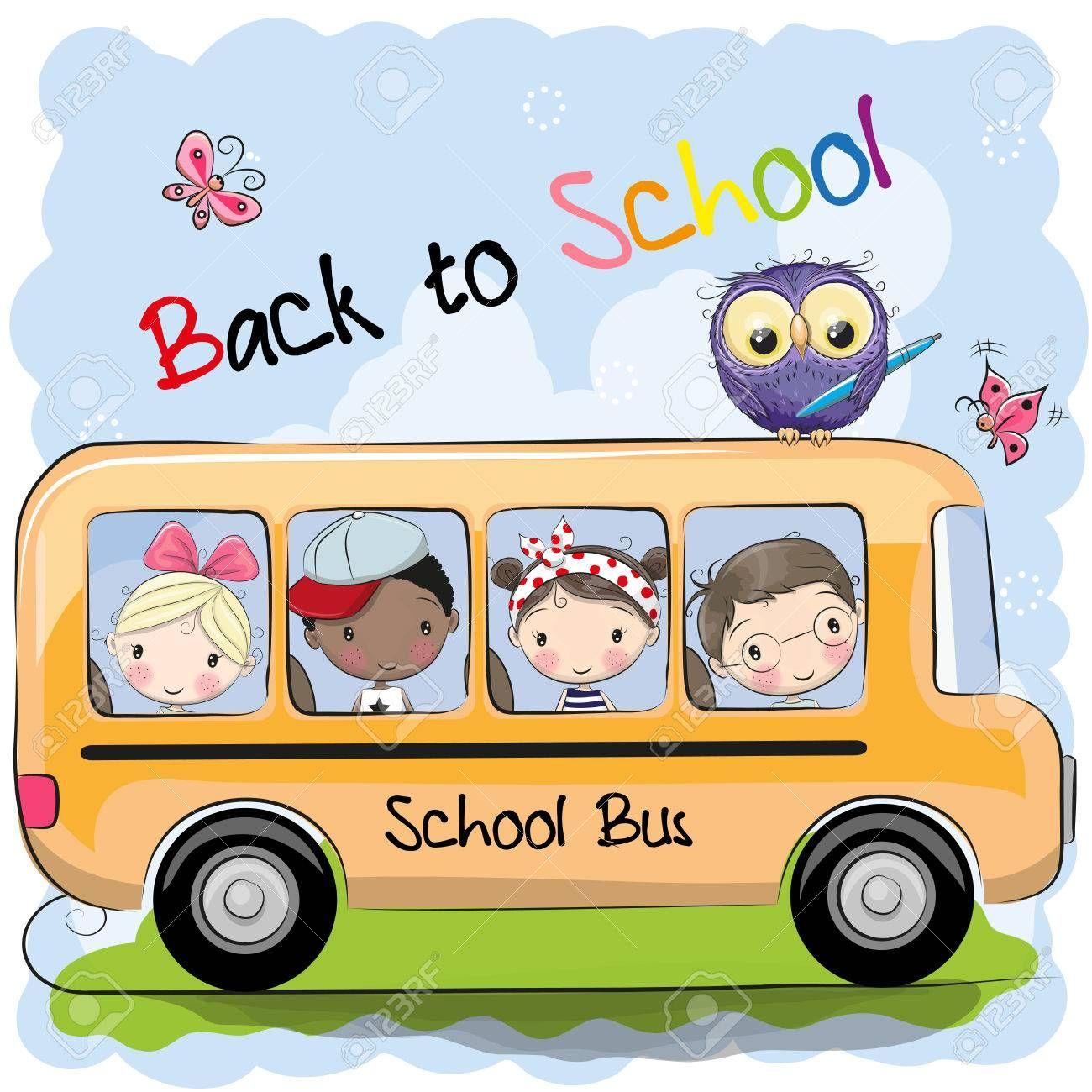 School Bus And Four Cute Cartoon Kids And Owl Affiliate Cute