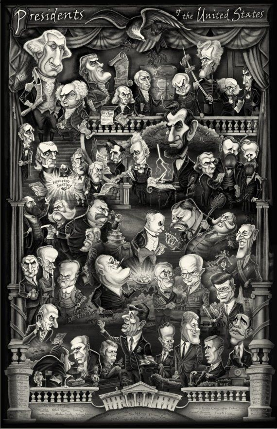 U.S. Presidents poster caricature, 25
