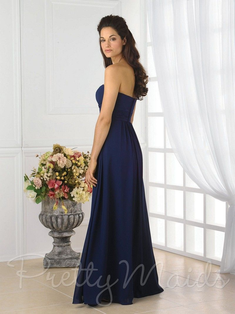 This magnificent royal blue evening gown features a blend of