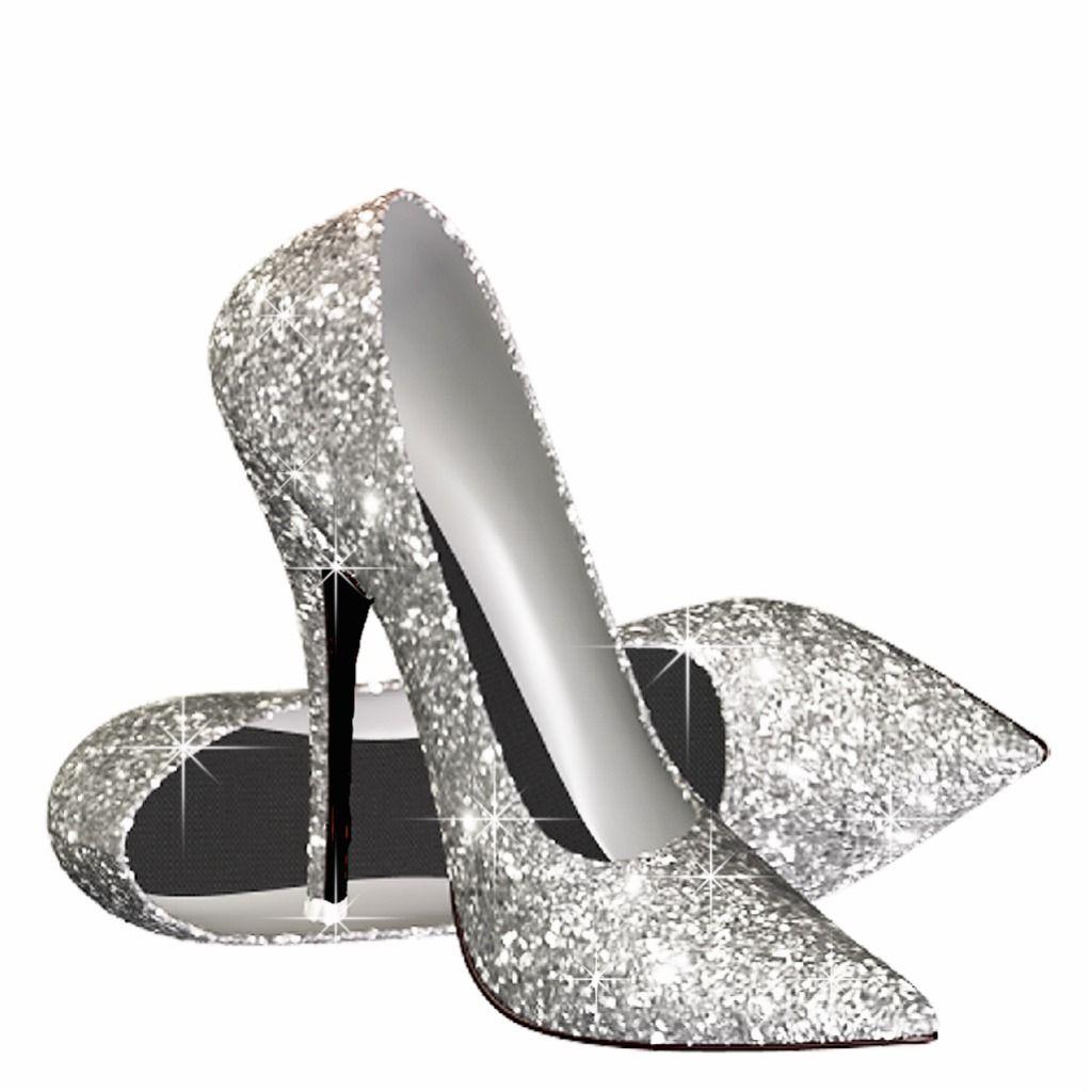 Silver Glitter High Heel Shoes