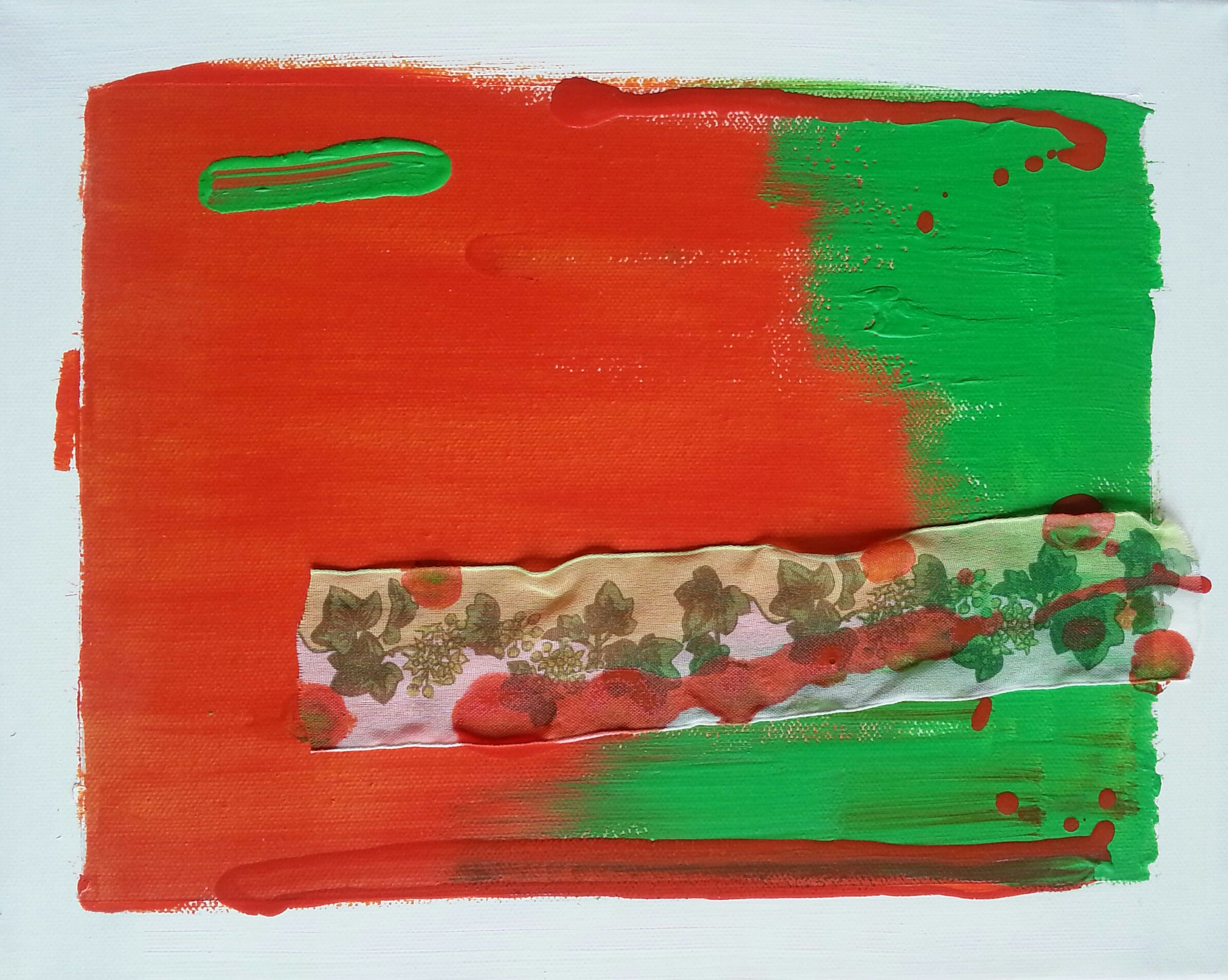 VEGETAZIONE 1 - acrylic and cloth on canvas - cm. 20x30 ...by Zeno Travegan (Enzo Gravante)