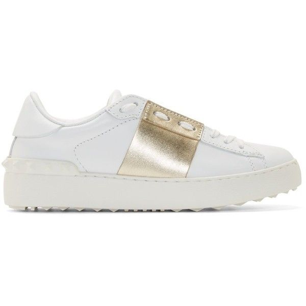 Valentino White Metallic Stripe Sneakers (695 CAD) ❤ liked on Polyvore