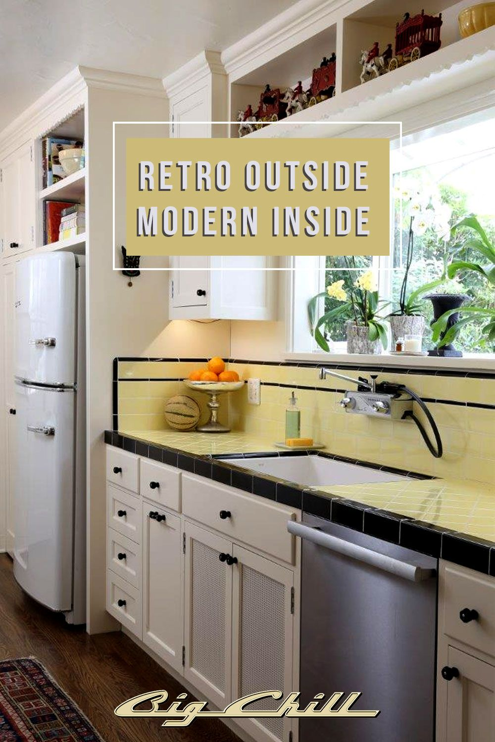 The Big Chill Original In A Remodeled 1931 Spanish Revival Bungalow Located On The Riviera In Santa Barba Bungalow Kitchen New Kitchen Cabinets Vintage Kitchen
