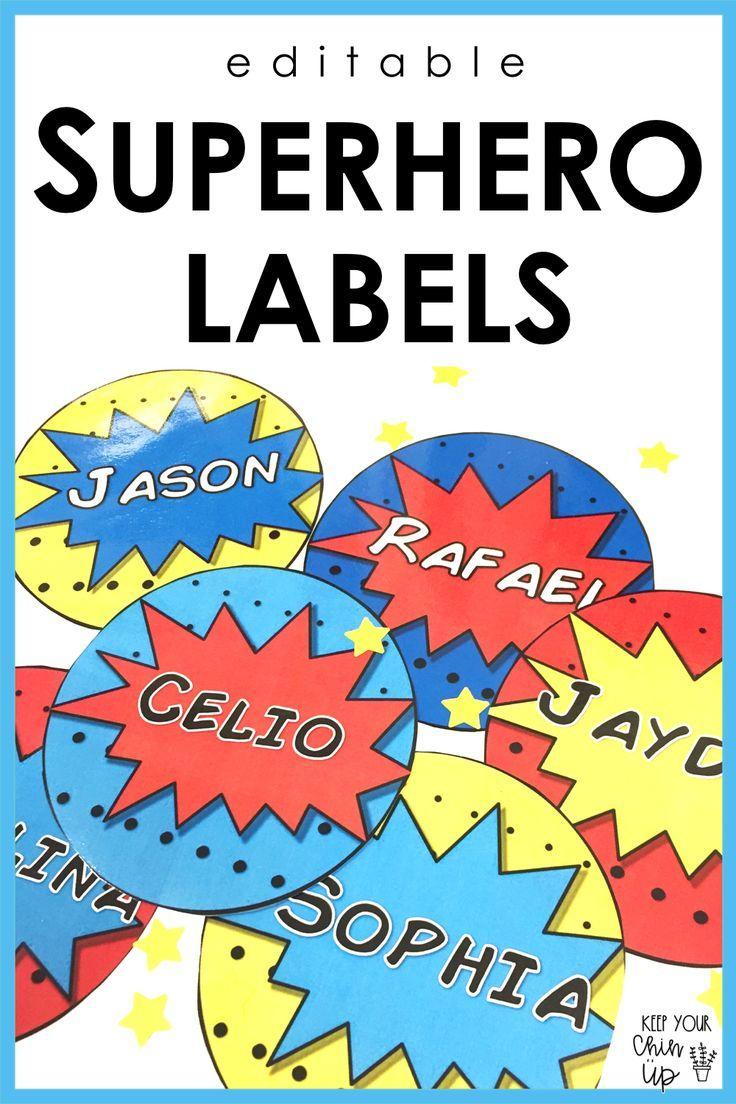 Editable superhero themed name tag labels classroom themeclassroom also best super hero theme images ideas rh pinterest