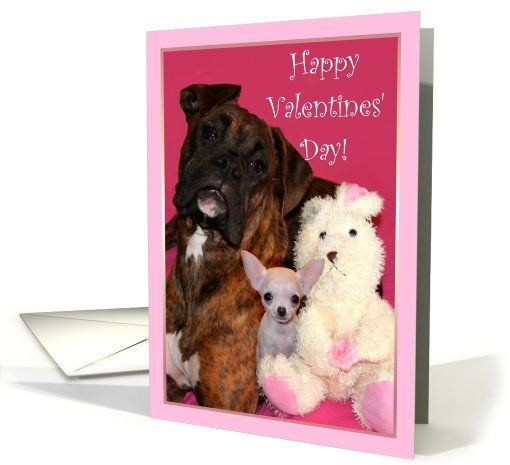 Happy Valentine S Day Boxer And Chihuahua Card Valentine S Card Chihuahua Chihuahuas Dog Dogs P Dog Valentines Valentines Valentine Day Cards