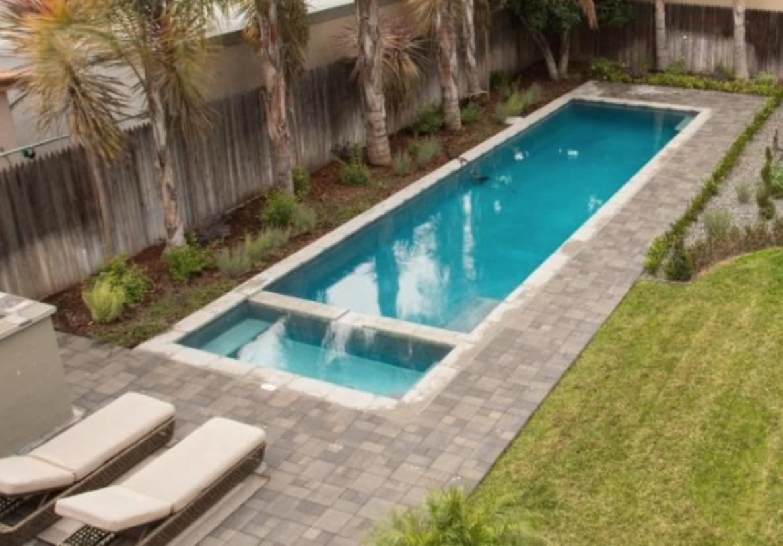 Lap Pool With Stone Paver Border In 2020 Pool Hot Tub Pool Lap Pool