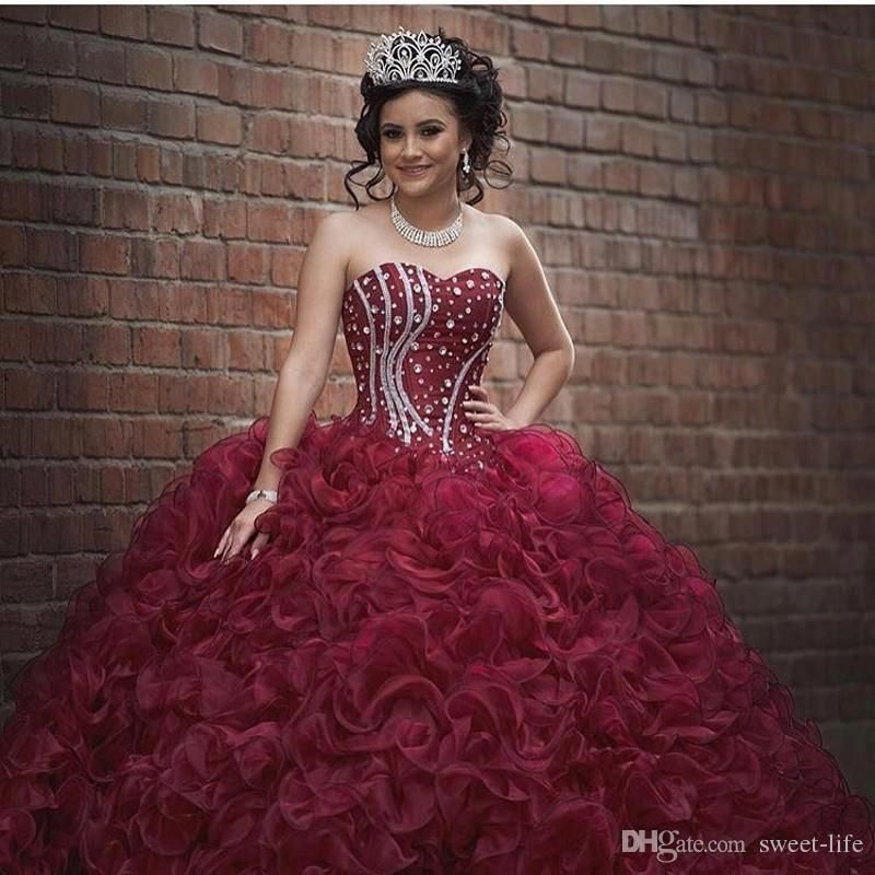 972216c4a7544 Burgundy Plus Size Ball Gown Sweet 16 Quinceanera Dresses Strapless  Crystals Ruffles Organza Corset 2017 Girls Debutantes Masquerade Gowns  Quinceanera ...