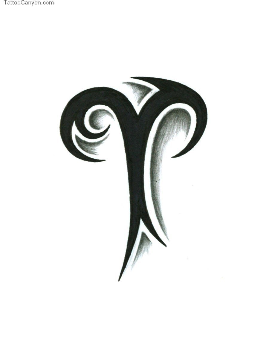 Sign tattoo designs - Amazing Black Tribal Aries Sign Tattoo Design