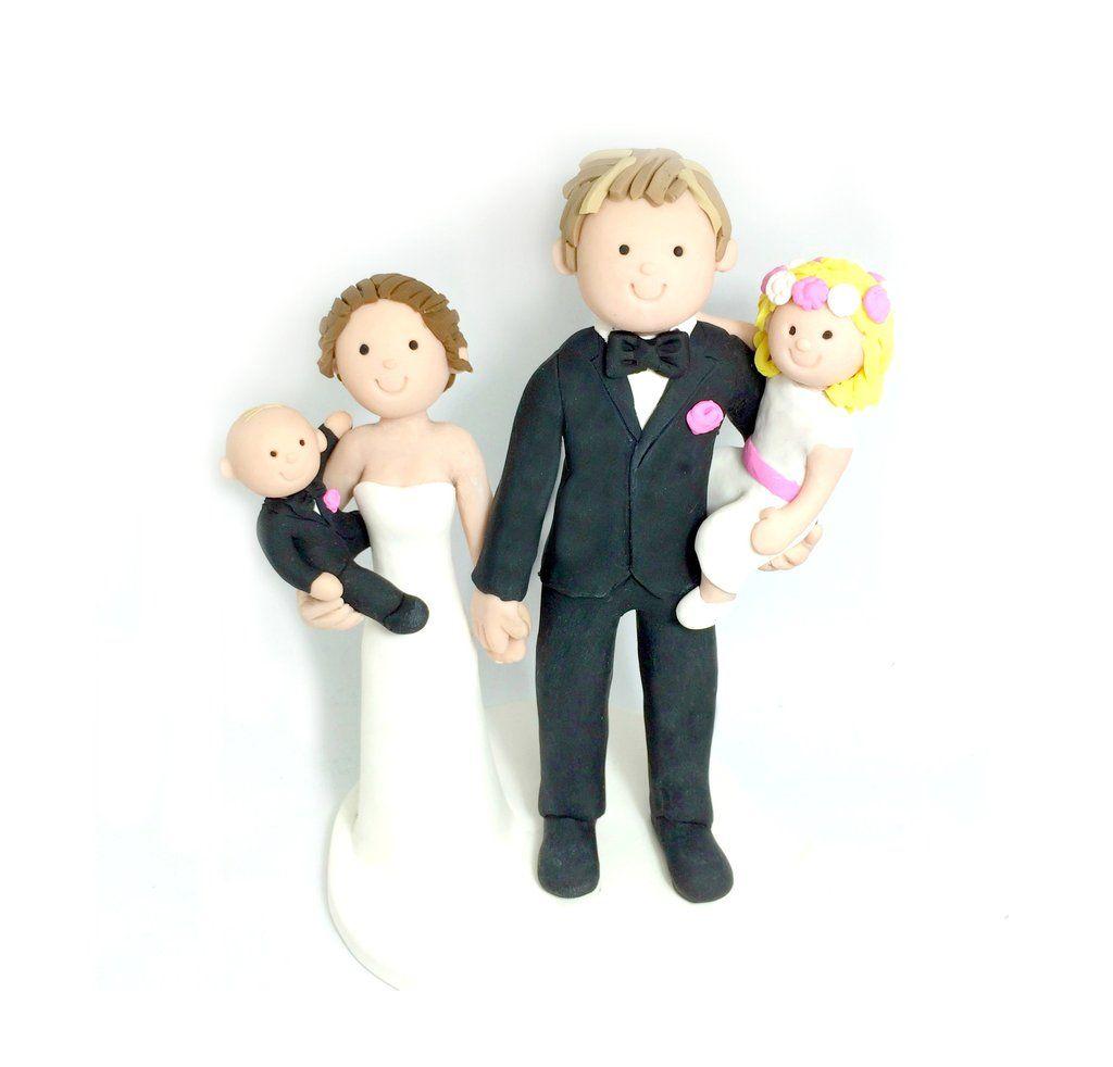 Cartoon custom family wedding cake topper custom wedding cake