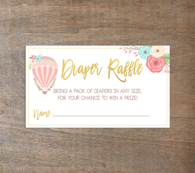 Diaper Raffle Ticket, Diaper Raffle Insert, Baby Shower, Hot Air ...
