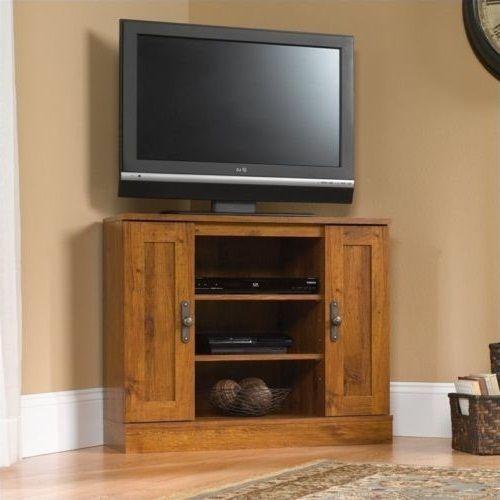 Tv Stand Wood Harvest Mill Corner Media Storage Entertainment