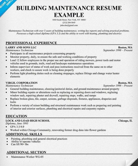 Building Maintenance Resume Sample  HttpGetresumetemplateInfo
