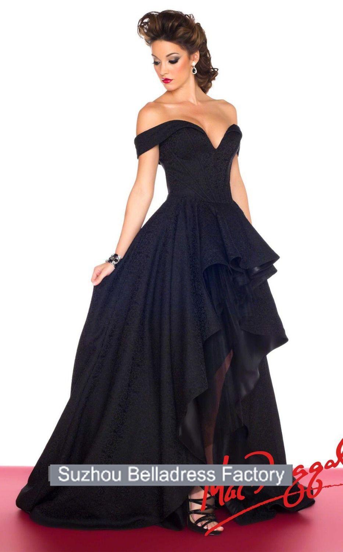 Fashionable refine off the shoulder black hilow black formal
