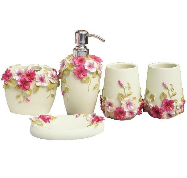 bathroom ensembles. Romantic Rose Pattern Resin Five Pieces Bathroom Accessories