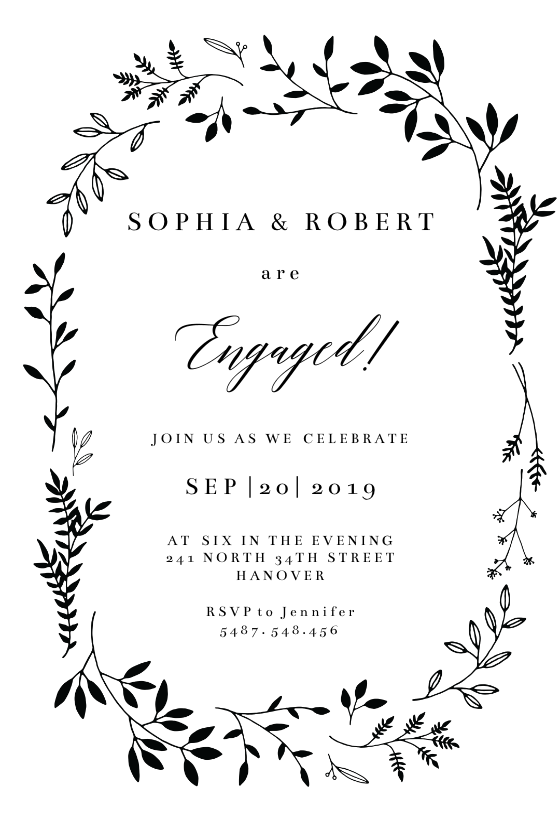 Black Ink Leaves Engagement Party Invitation Template Greetings Island Engagement Party Invitations Engagement Invitations Engagement Party