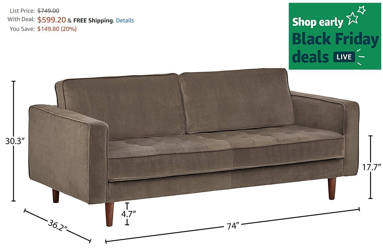 Best Rivet Aiden Tufted Mid Century Velvet Bench Seat Sofa Kitchen Dining Black Friday Deals On 400 x 300