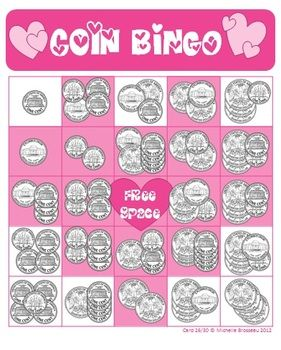 Valentines Day Bingo Cards  Adding Coins  5 FREE Cards for