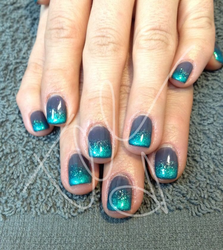 grey and teal glitter nails