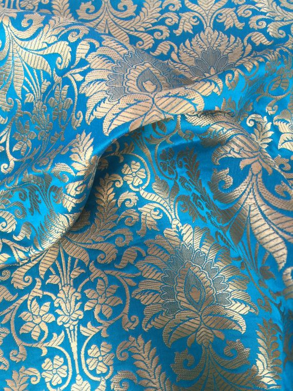 Silk Brocade Fabric 20 Sale Blue And Gold By Neafabrics On Etsy Sale Blue Brocade Fabric Silk Brocade