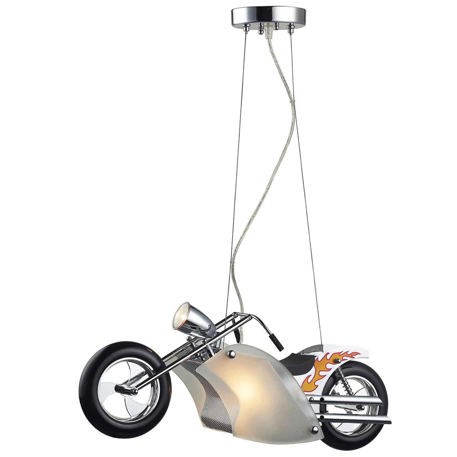 Elk Lighting Wild Ride Motorcycle 3-Light Satin Nickel and Polished ...