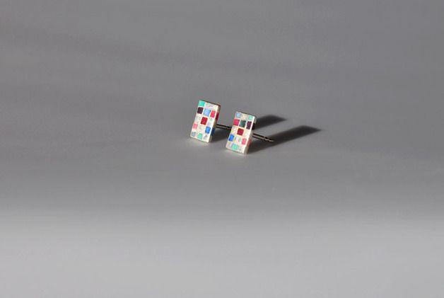 Ohrstecker - Kleine Ohrstecker Silber mit Farbmosaik - ein Designerstück von SCHMUCKausPORZELLAN bei DaWanda