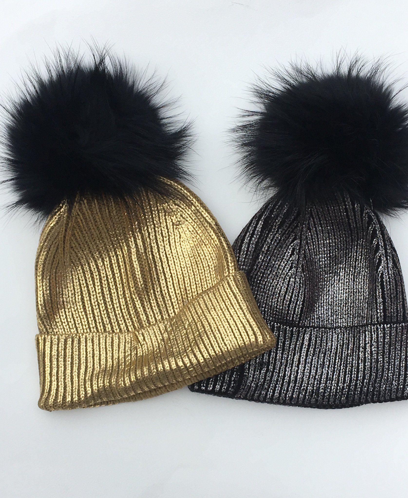 3d4a5397296f31 Pink Pineapple EXCLUSIVE - Gold Foil hats with Black FUR poms!!!! Being  cool was never so Cool!