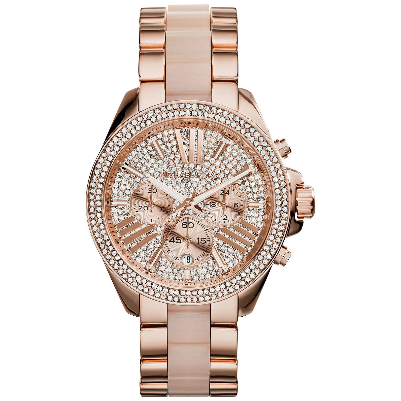 9e6cca08de3e Michael Kors Women s MK6096  Wren  Chronograph Crystal Rose Gold Tone  Stainless Steel Watch (