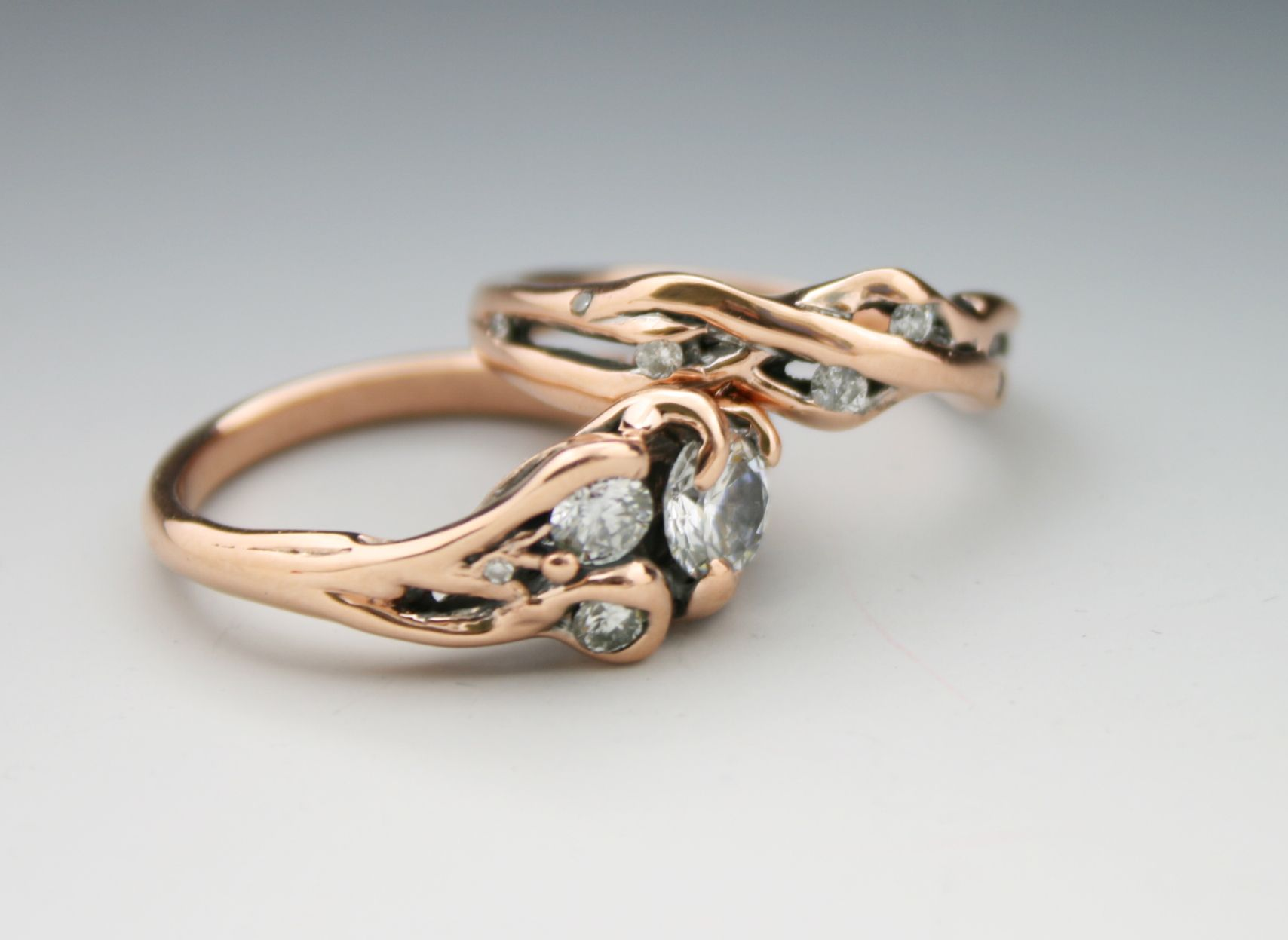 Custom Diamond And Rose Gold Wedding Ring Set Wedding Engagement