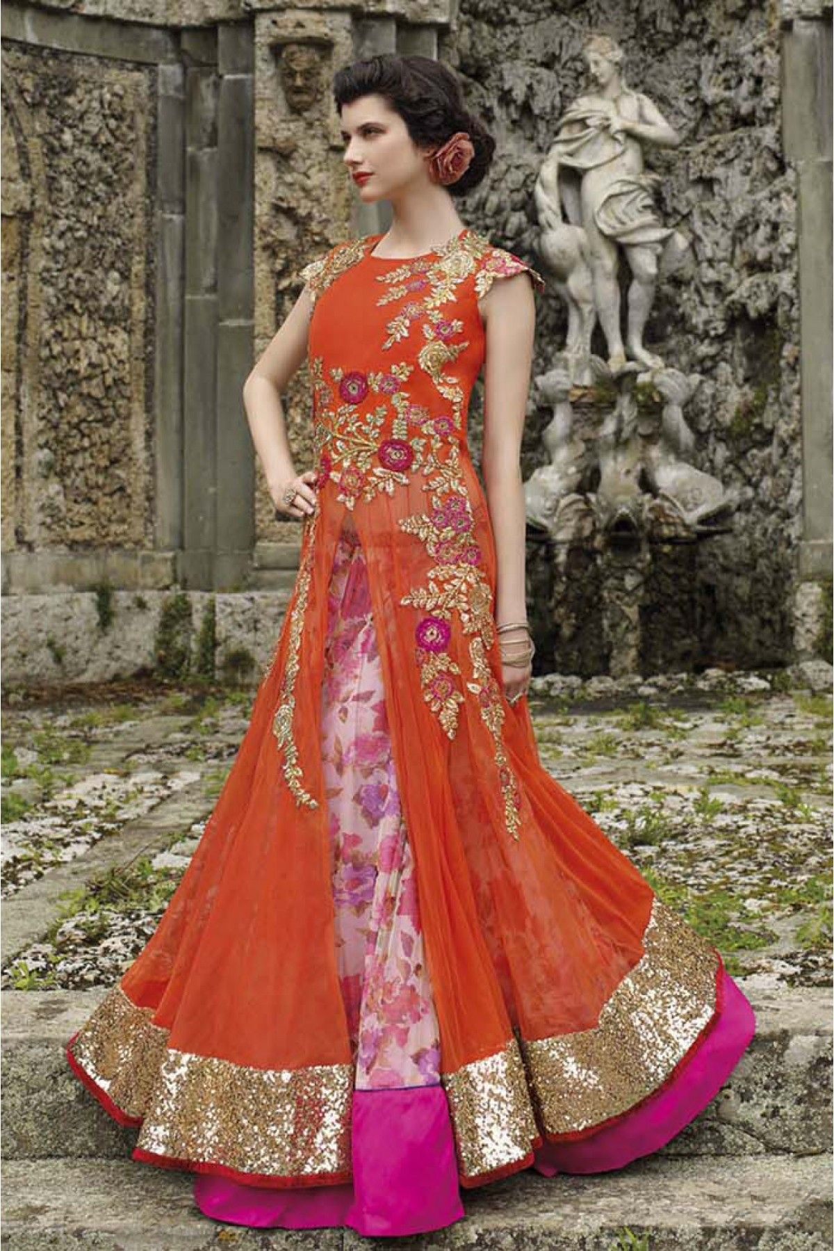 9ba651eee5 Net Semi Stitched Designer Gown In Orange Colour in 2019 | Ethnic ...