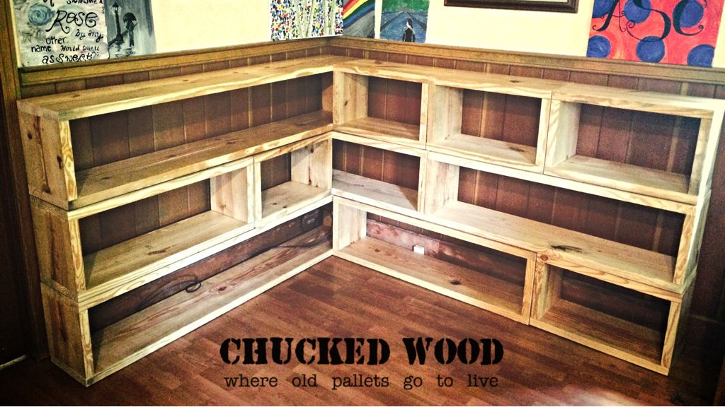 Repurposed 2x12 timbers make up this rearranging bookcase