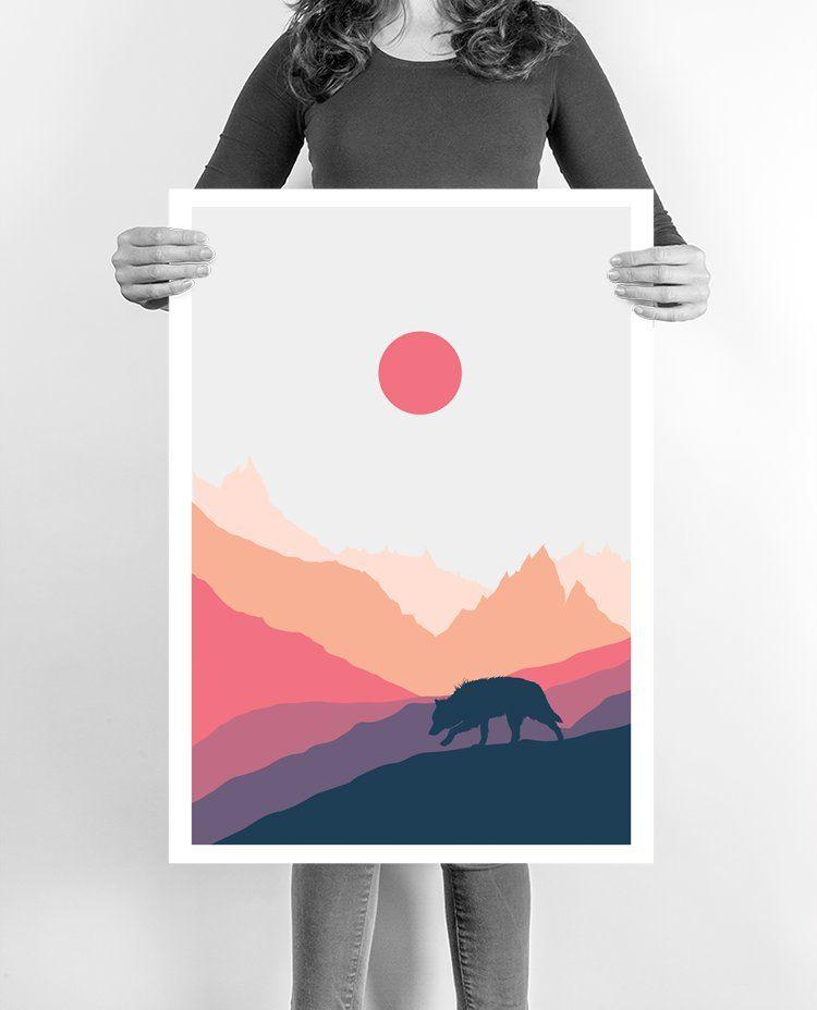 The Lone Wolf Art Art Prints Abstract Wall Art Art Gift