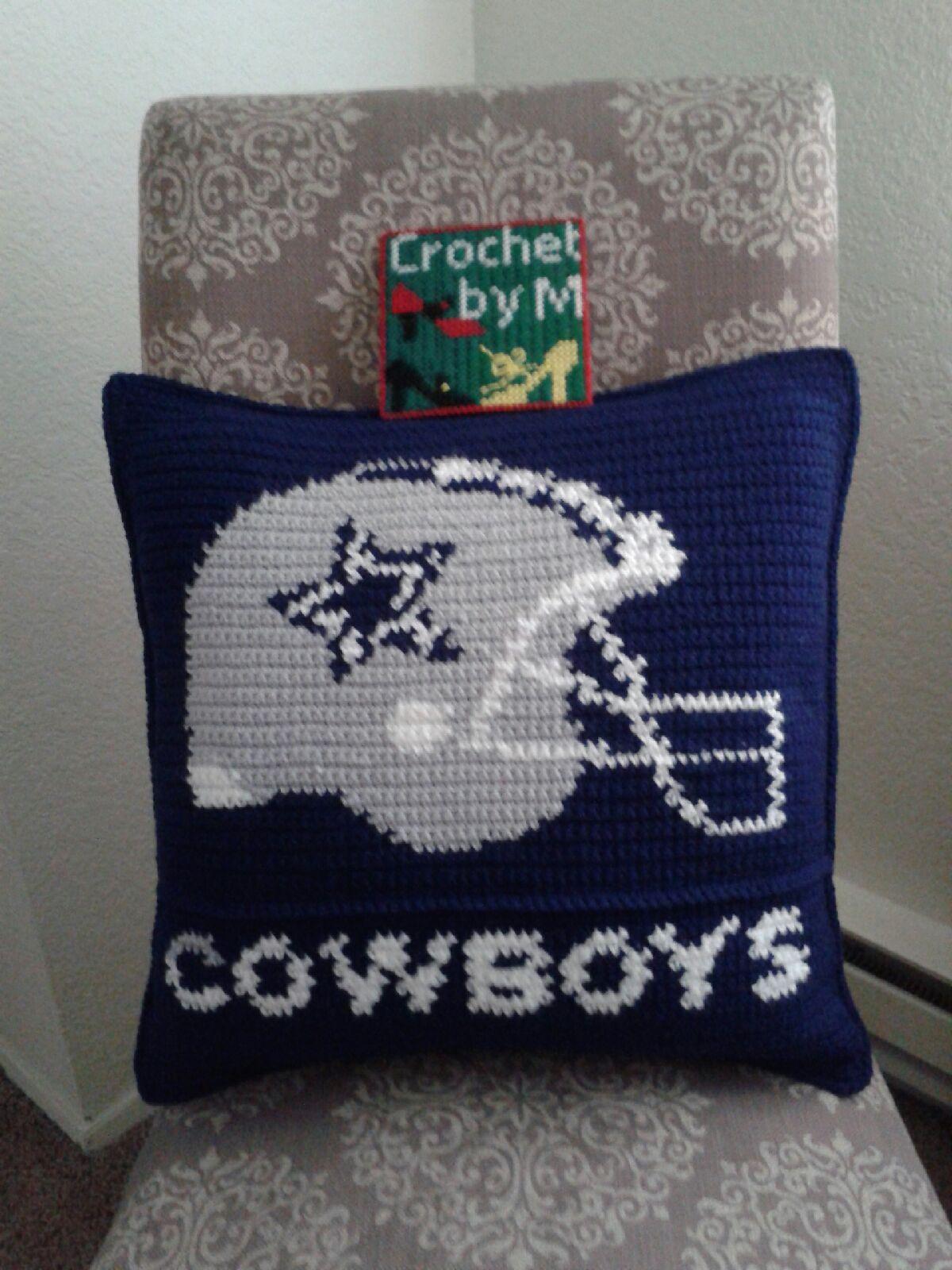crochet dallas cowboys pillow cushion