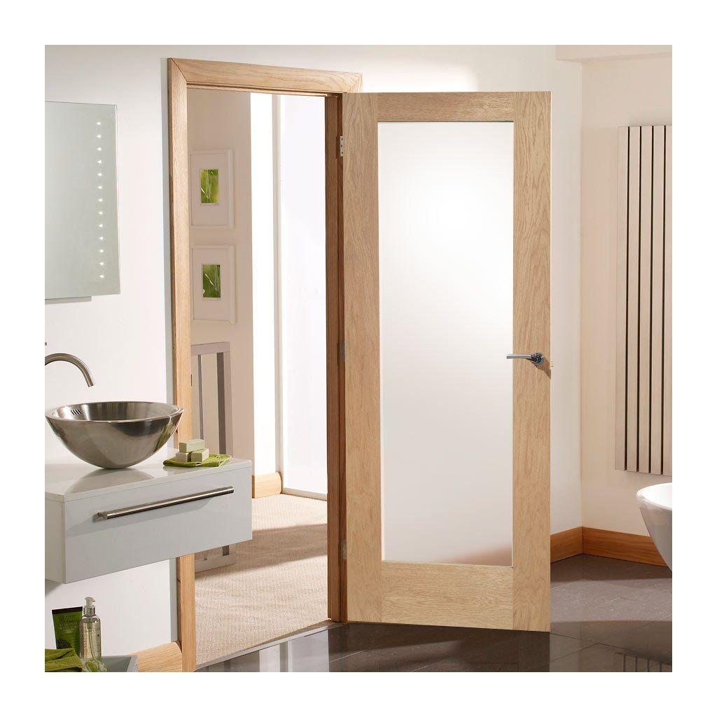 Door Set Kit Patt 10 Oak Shaker Door Obscure Safe Glass