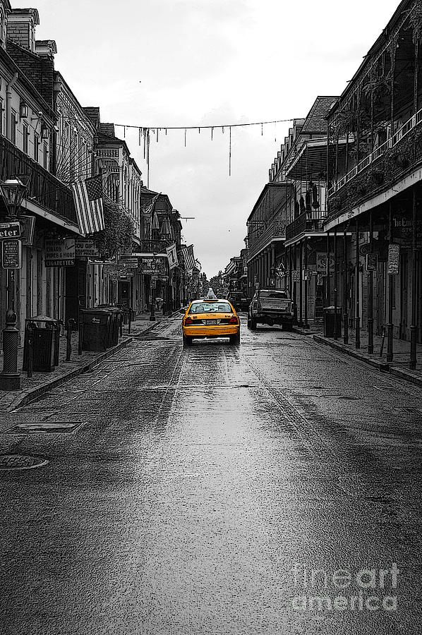 Taxi cab in full color with all else in black and white description from fineartamerica