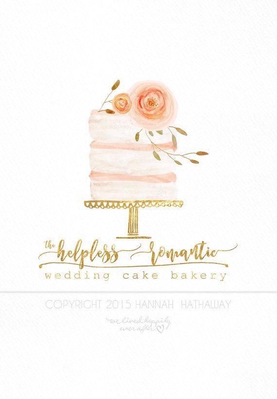 Vintage naked wedding cake logo watercolor painted premade boho vintage naked wedding cake logo watercolor painted premade boho business logo item 140bk reheart Choice Image