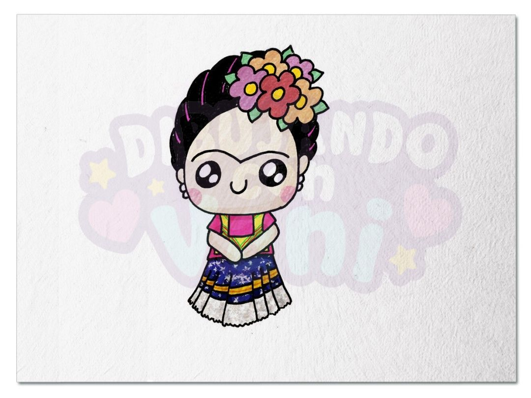 Frida Kahlo Kawaii Para Colorear: Frida Kahlo Kawaii