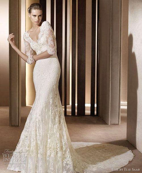 vestido de novia manga tres cuartos en encaje, corte sirena