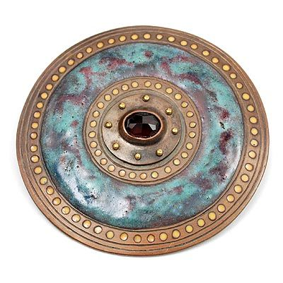 JAN EISENLOEFFEL 1876-1957 - Copper enamelled brooch with facet cut grenade design Jan Eisenloeffel execution Homme de Vries ca.1920 The Netherlands