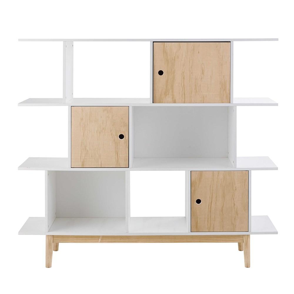 Bibliothèque 3 portes blanche | Bibliothèque en bois, Bois blanc et ...