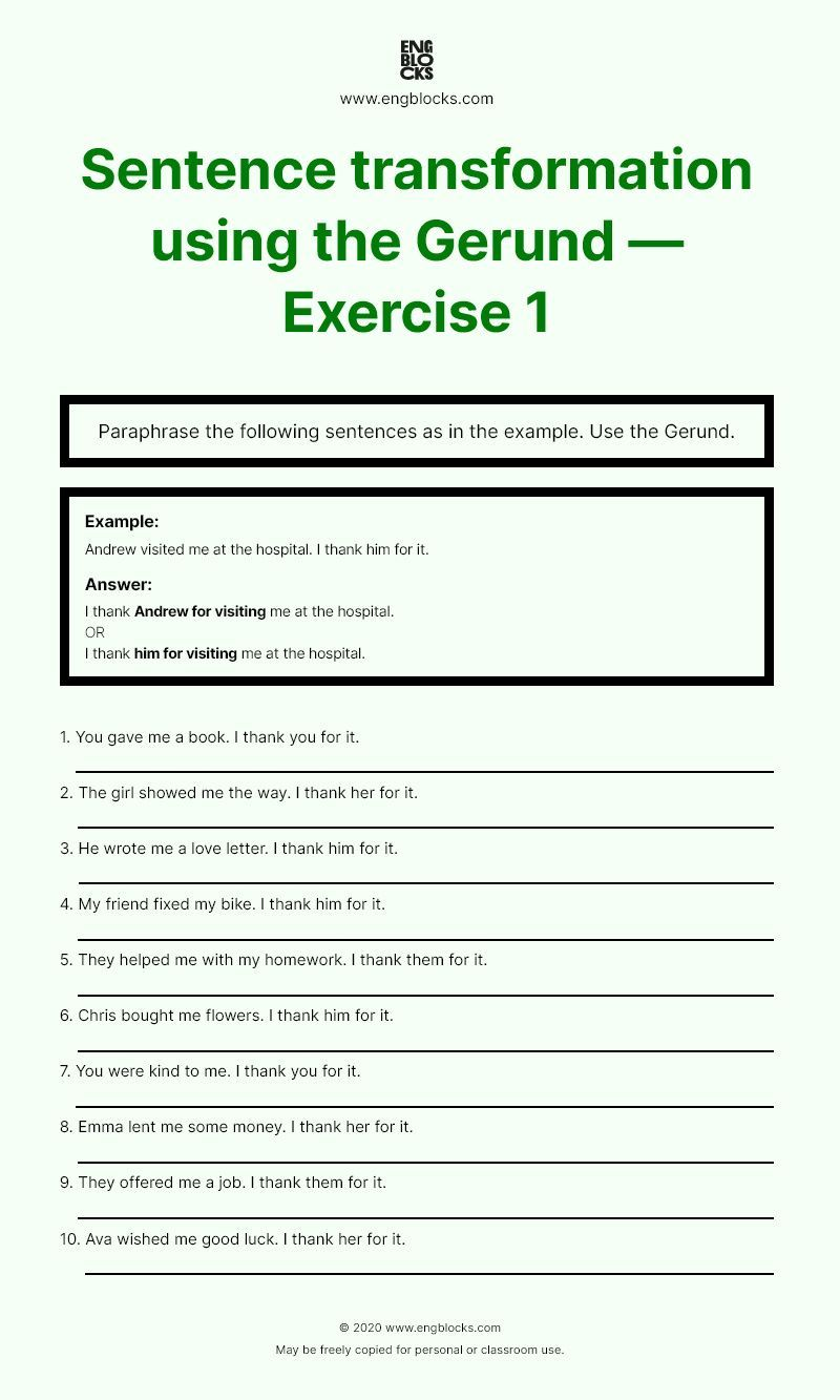 Gerund Sentence Transformation Worksheet 1 In 2020 Exercise English Grammar How To Put Paraphrase A