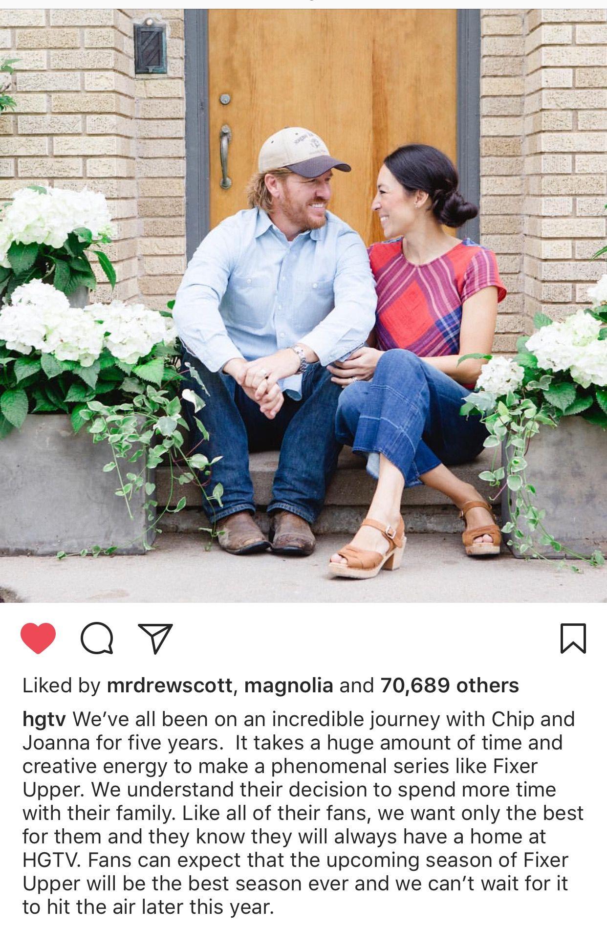 HGTV Instagram 9 26 17 announcing Fixerupper s Final Season Chip