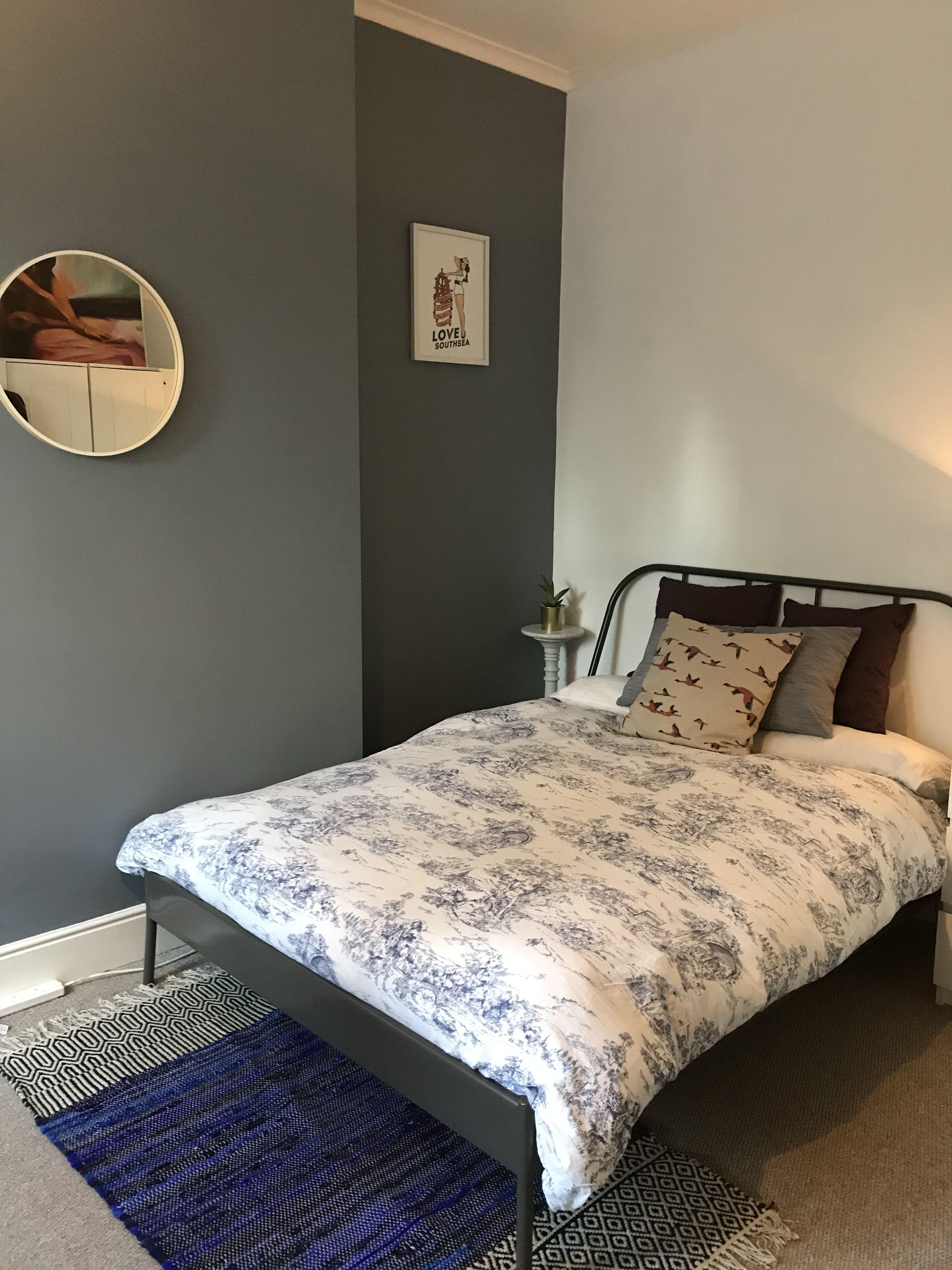 Master bedroom feature wall  Denim Drift Dulux feature wall bedroom  Master Bedroom  Pinterest