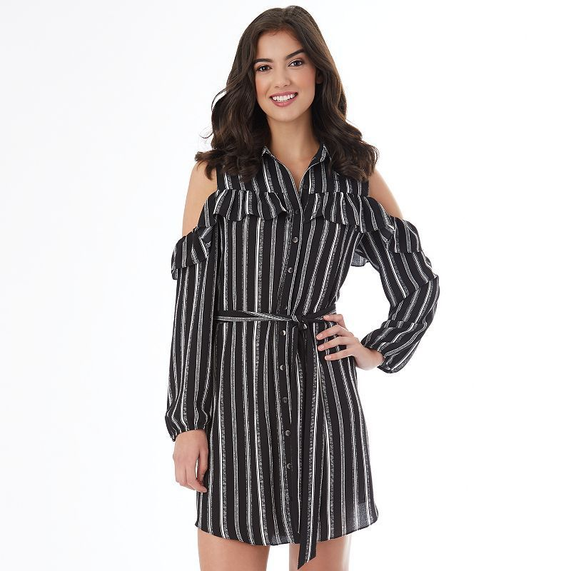 5aa461a30 Juniors' IZ Byer California Striped Cold-Shoulder Shirt Dress, Teens, Size:  Large, White