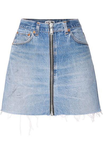 bf3471f278 RE/DONE   + Levis zip-embellished frayed denim mini skirt   NET-A-PORTER.COM