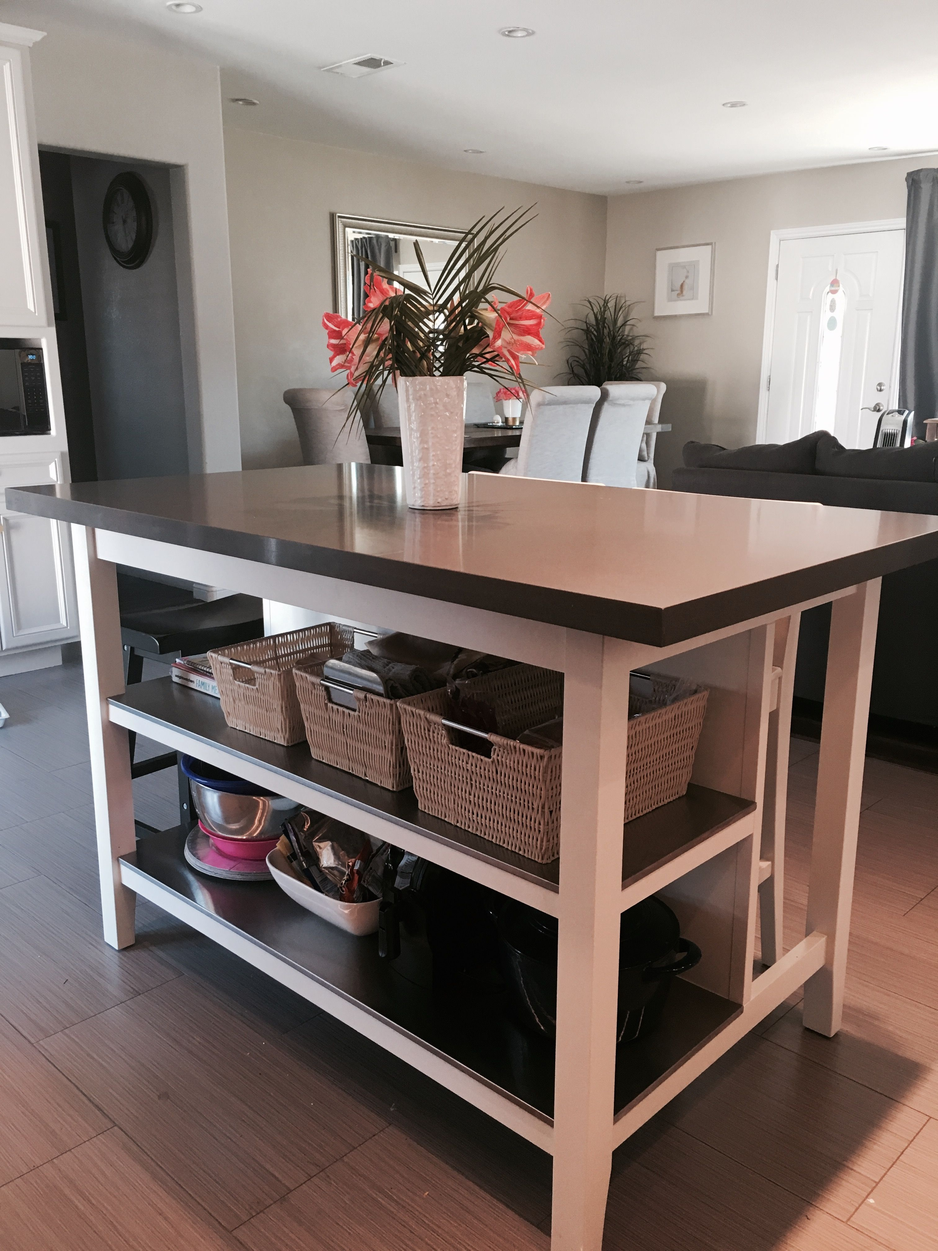 Ikea Stenstorp Kitchen Island Hack. We Loved This Island But Needed A  Larger Counter Space So We Added Quartz On Top. This Saved Us A Ton Of  Money!