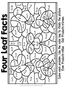 St. Patrick's Day Multiplication Mosaics-Fun Fact Practice