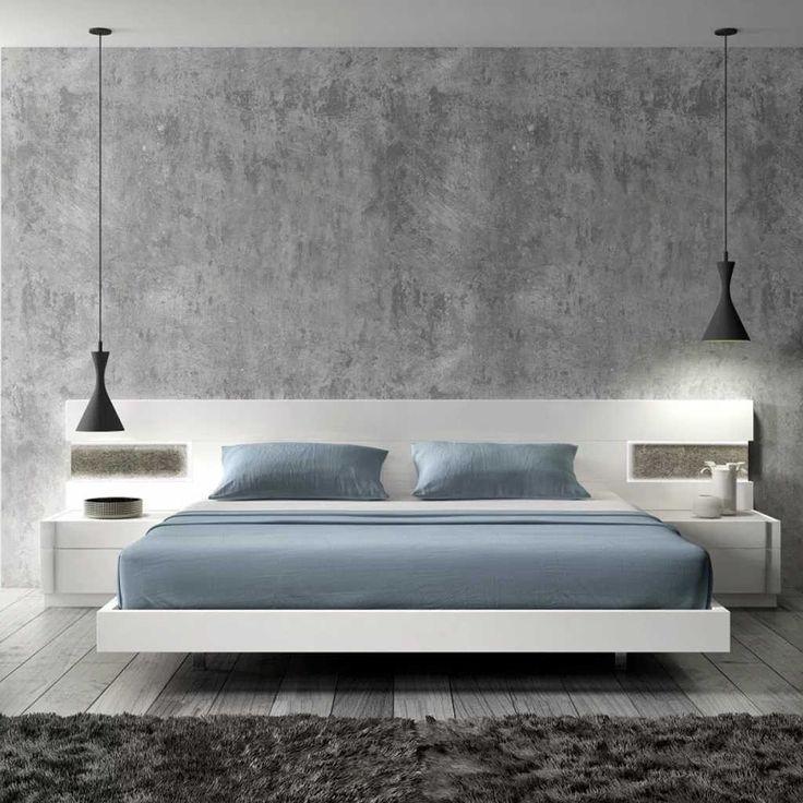 Modern slaapkamerontwerp met betonnen wand  Meuble chambre à