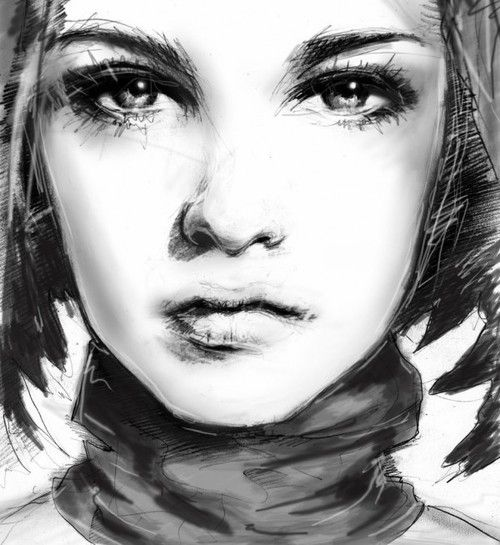 Close up of girls face sketching