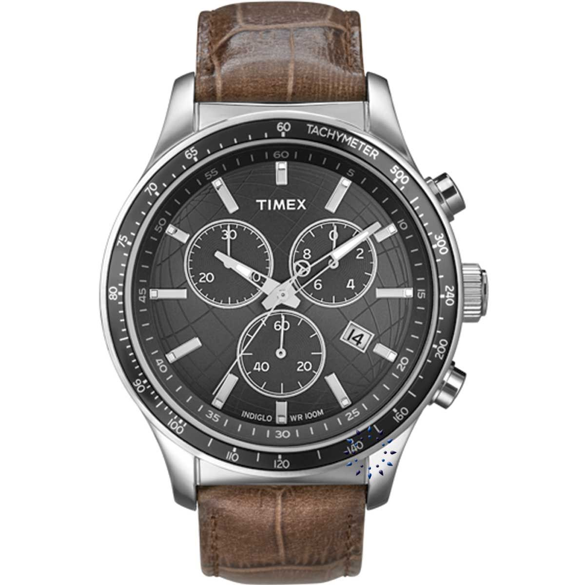 TIMEX MENS WATCHES - TIMEX Chronograph Brown Leather Strap - FashionFilmsNYC.com