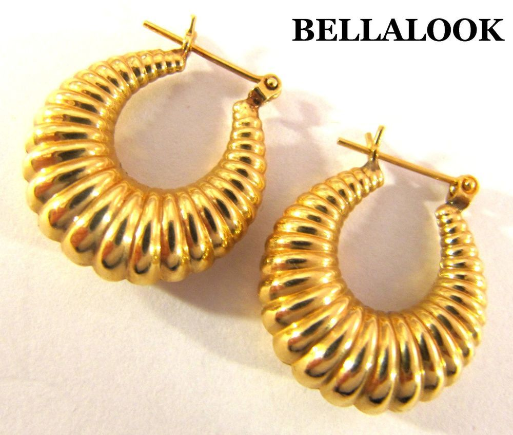 Estate Marked 14k Solid Yellow Gold Hollow Puffy Shrimp Hoop Earrings 26g